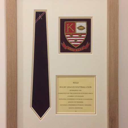 Engraved frame, badge & tie